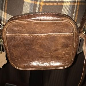 Vintage Laura Ashley Cross Body Bag Brown Leather